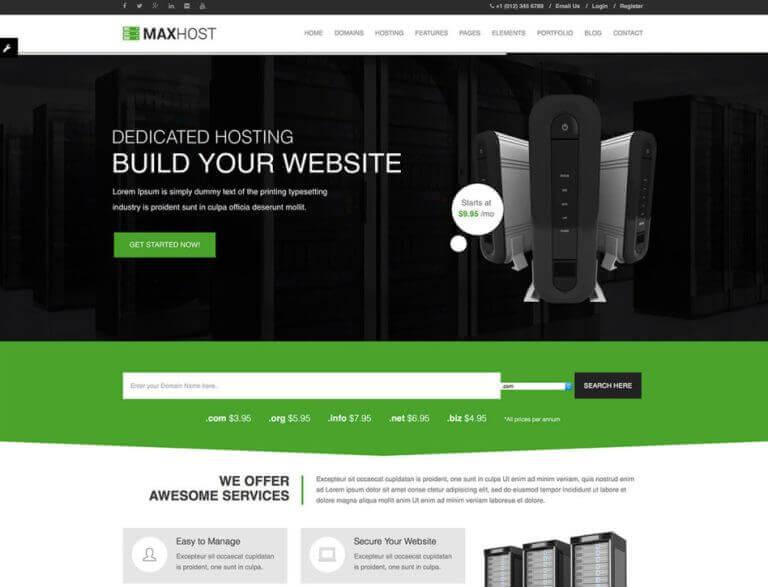 Maxhost web hosting whmcs theme