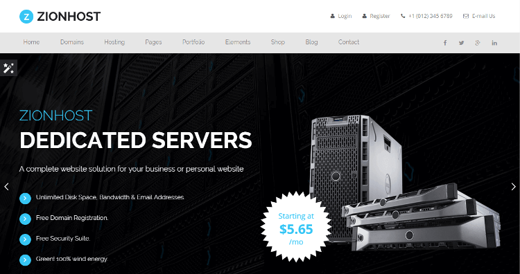 Zionhost web hosting whmcs wordpress theme