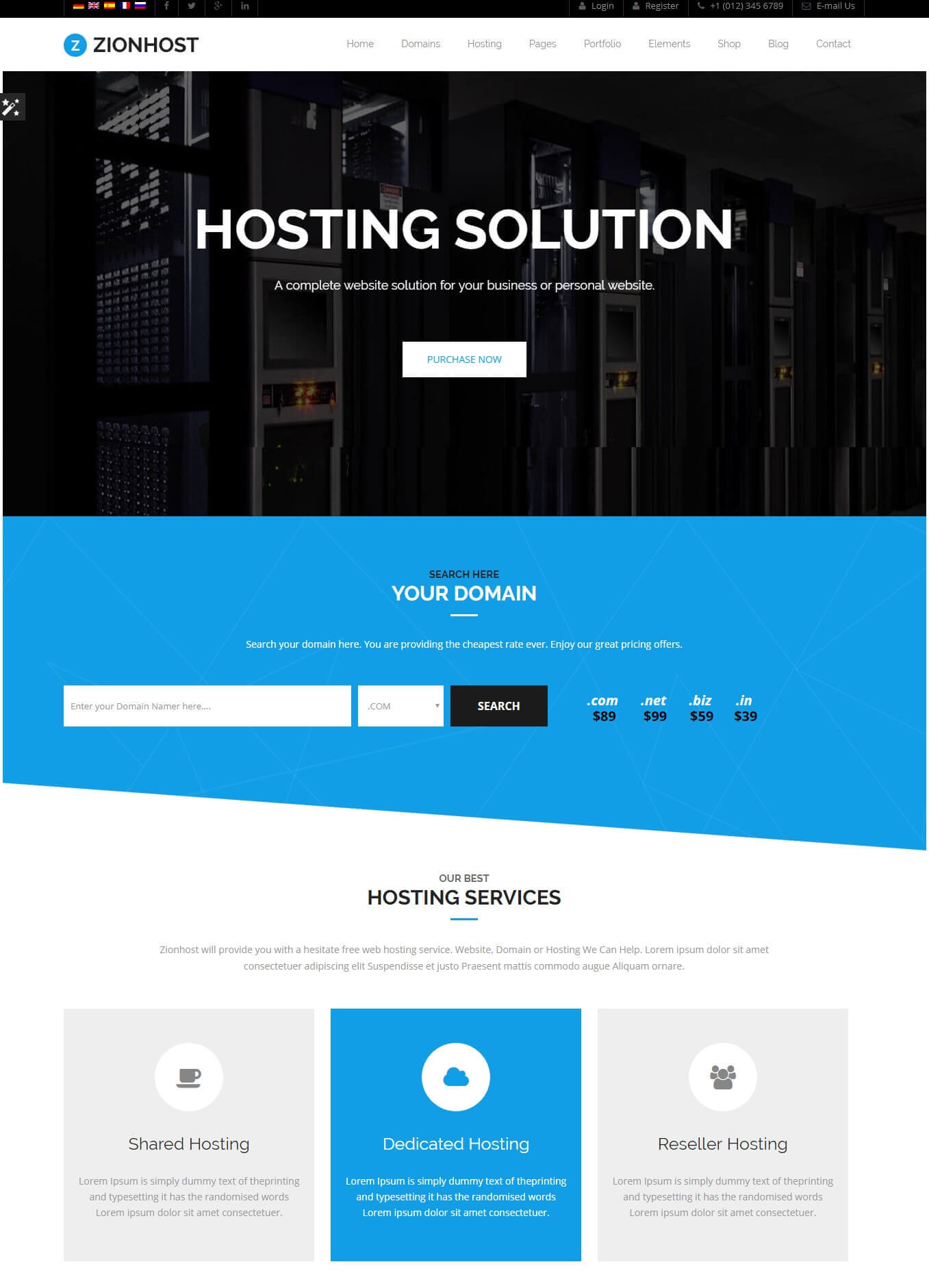 Zionhost hosting theme preview